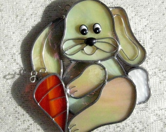 Chubby Yellow Bunny Stained Glass Suncatcher, Easter Stained Glass Sun Catcher, Rabbit, Animal