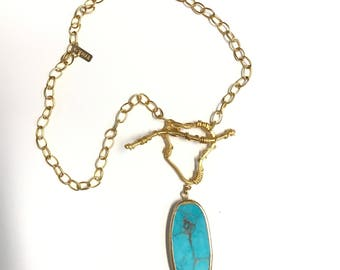 "Turquoise Pendant Necklace, 22K Gold Plated Oval Link Texture Chain, 24K Gold Plated Toggle Clasp, 24"" Long"