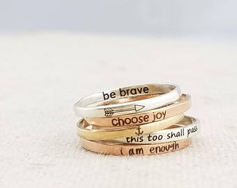 Personalized Inspiration Ring - Personalized Ring -  Dainty Jewelry - Gift - Rose Gold Ring - Mixed Metal Stacking Ring - Rings - Gold Ring