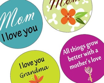 Funky Mother's Day - One (1x1) Inch or 25mm Round Pendant Images - Digital Collage Sheet - 1x1 Inch Bottle Cap Images - Buy 2 Get 1 Free