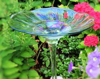 Rainbow Glass Birdbath