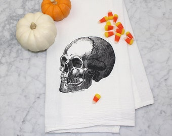 Skull Flour Sack Tea Towel - Hand Screen Printed - Kitchen Towel - 100% Cotton Dish Towel - Skull Decor - Kitchen Accessories