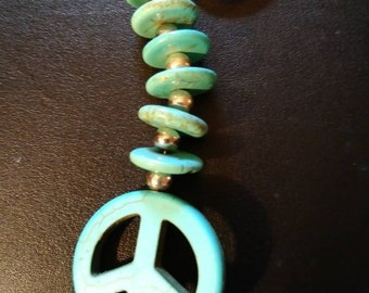 Turquoise Peace Sign Keychain