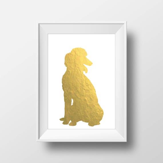 Poodle Silhouette Gold Foil Printable Art Poodle Print