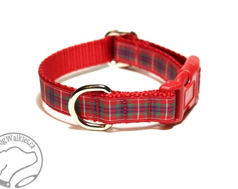 """Fraser Clan Tartan Dog Collar - Outlander Tartan - Red Plaid -  3/4"""" (19mm) Wide Matingale or Side Release - Choice of collar style and size"""