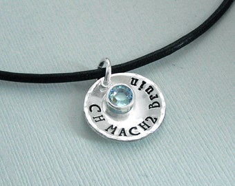 LARGER DISC - Dog Agility Title Necklace - Sterling Silver and Swarovski Crystal - Canine Agility Jewelry