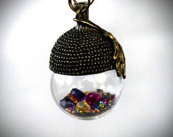 Terrarium Jewelry - Crystal Terrarium - Terrarium Necklace - Terrarium Pendant - glass terrarium - glass orb necklace - crystal point