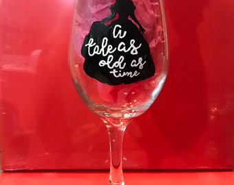 Tale as Old as Time Hand Painted Glass