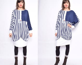 Vintage 80's Oversized Striped Dress / Color Blocking Oversized Top - Size Medium