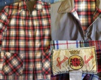 final sale --- Vintage 1960s Zero King Plaid Reversible Jacket - sz 42