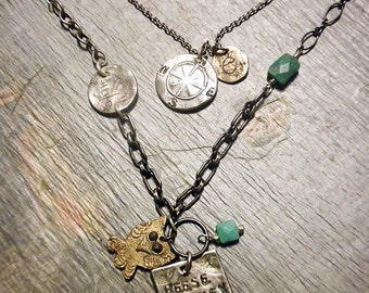 Fine silver personalized mothers/grandmothers necklace with semiprecious stones and bronze and fine silver charms