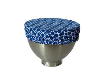 "Reusable Eco-Friendly Fabric Bowl Cover-Blue/White circles.  Fits 2.5 L bowl, 10"" bowl/plate, Kitchen-aid bowl.  Cotton fabrics."