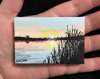 Lake Sunset Miniature Landscape
