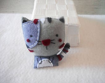 Cat Fridge Magnet - Cat Magnet - Fridge Magnet - Gray Cat Magnet - Refrigerator Magnet - Cat Lover Gift - Felt Fridge Magnet - Felt Decor