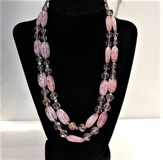 TRIFARI Double Strand Art Glass Necklace / Designer Fashion