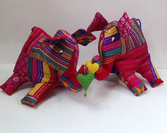 Multicolored Indian elephant, toy, red and multicolor fabric patchwork cushion, trimmed Interior fleece