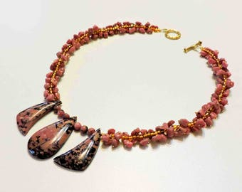 Rhodonite Stone Tri Necklace With Gold Glass Seed Beads and Matching Chips