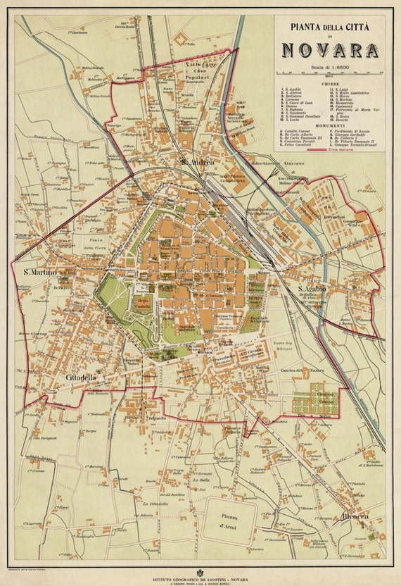 Old map of Novara Italy Novara map fine reproduction