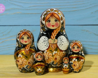 Russian nesting doll, Mothers day gift idea, Matryoshka, Gift for woman, Babushka in black white and gold, Wooden hand painted stacking doll