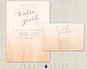 Watercolor Wedding Invitation- OMBRE - 2 Piece SET - Custom Color
