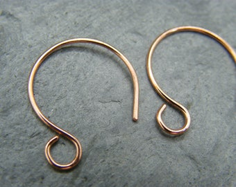 Handmade copper ear wires  ~ Copper hoops ~ Earring components ~ Artisan jewelry making supplies ~ Ear hooks ~  Handmade copper earring hoop