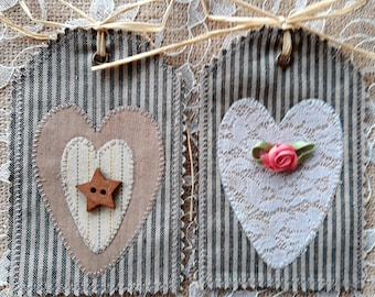 Handmade Heart Fabric Label Applique Gift Tag Shabby Primitive Valentine Lace