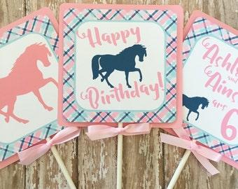 horse party centerpieces, custom horse birthday centerpiece, pink and blue horse birthday, pink plaid centerpiece