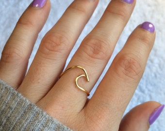 Wave Ring~ Sterling Silver Wave Ring//College Student Gift//Silver Wave Ring//Adjustable Wave Ring//Wave Ring