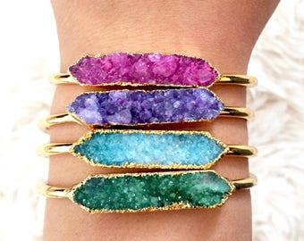 Druzy Cuff Bracelet, Bangle Bracelet, Bangle, Cuff Bracelet, Bracelet