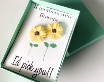 Mother's Day Gift Box - Yellow Daisy Earrings - Yellow Sunflower - Gifts for Mom from Daughter