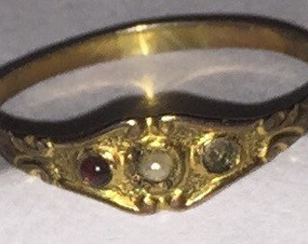 Antique 10K Garnet Pearl Baby Ring Vintage Edwardian Pearl and Garnet Cabochon Size 1 3/4