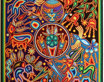 """23.5"""" Huichol painting, Mexican decor, Mexican folk art, Mexican wall art, Mexican art, Native art, Huichol art, Mexican painting, 60-115"""