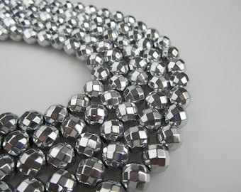Silver Color Hematite Faceted Round Beads 6mm/8mm/10mm/12mm 15.5'' Long Per Strand.R-F-HEM-0119