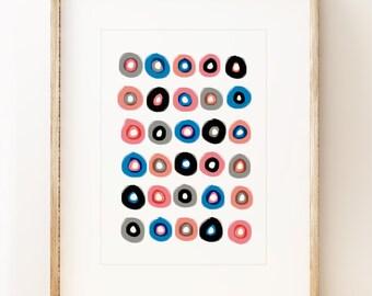 Abstract circles art print 'Donuts'. Contemporary wall art, modern art print, gallery wall art.
