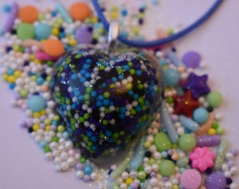 Heart Sprinkle Pendant Necklace. Real Sprinkles! Blue, Purple, Green, and White Nonpareils and Glitter in Resin. Wearable Candy! 29