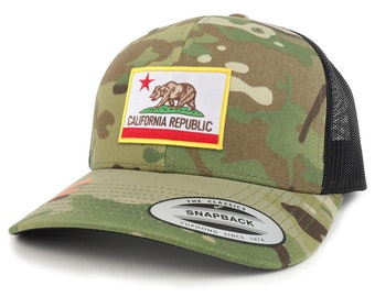 California State Flag Patch Camouflage Structured Trucker Mesh Baseball Cap (FLEX-6606MC-FPA505)
