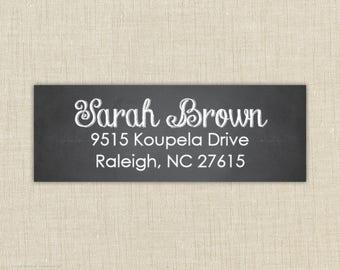 Return Address Labels, Return address stickers, return address, return address label stickers, chalkboard