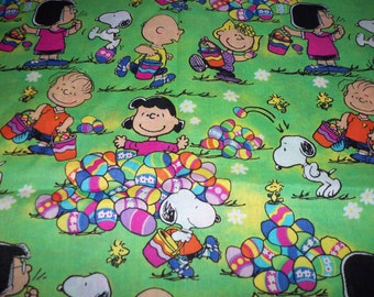 Peanuts Easter Fabric Egg Hunt Rare HTF Very Popular Fat Quarter New BTFQ
