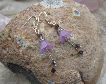 Purple forest flower earrings