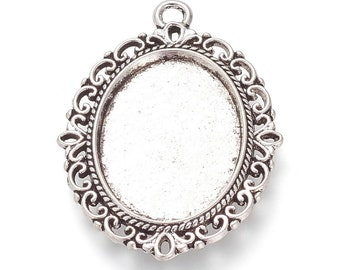 Silver Cabochon 18x25mm Oval Cabochon Setting Pendant Bezel Inner Tray DIY Findings for Jewelry Making 40Pcs.