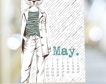 Hipster 2018 Calendar, 2018 Desk Calendar, Stand Calendar, Hipster Gift, Easel Desk Calendar, Retro Desk Calendar, 2018 Hipster Calendar