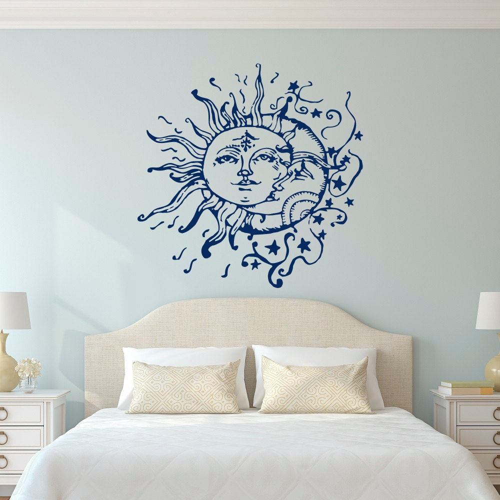 Sun moon stars wall decals for bedroom sun and moon wall - Bedroom wall decor ideas ...