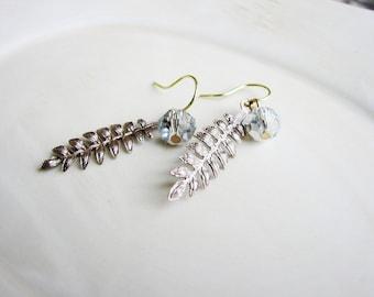 Fern Leaf Earrings, Metal Filigree Earrings, Leaf Earrings, Silver Crystal Earrings, Minimalist Nature Jewelry