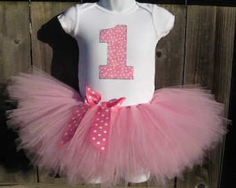 Pink Birthday Tutu Outfit and Matching Headband   Taffy Pink Polka Dot Number or Initial  Birthday Photo Prop, Party Dress