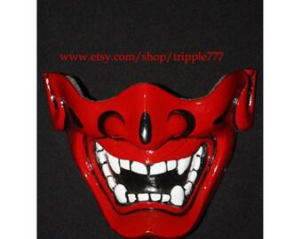 Half cover Hannya Kabuki mask, Airsoft mask, Halloween costume & Cosplay mask, Halloween mask, Steampunk mask, Wall mask, Samurai MA125 et