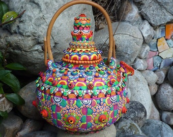 Upcycled Ceramic Teapot - Papa Bear