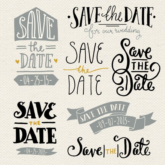 Ideal CLIP ART: Save the Date Overlays 1 // Photoshop psd // KN18