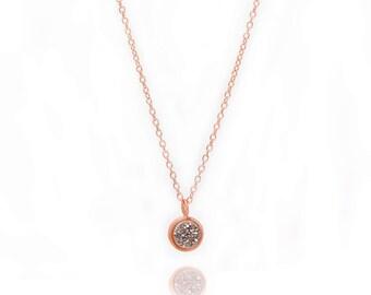 Druzy POP Necklace - Silver Druzy in Rose Gold - Druzy / Drusy Necklace - 24k Rose Gold Vermeil - Small Round Druzy Drop Charm Pendant