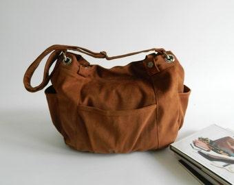 Brown cognac canvas Diaper bag , vegan messenger bag , women Travel Cross Body Purse ,tote bag for her /Sale 25 % - no.13 ANNA