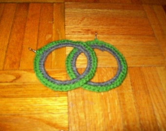 Green Mountain, Crochet Hoop Earrings